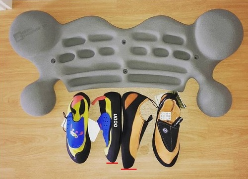 Les différences entre les tailles réelles de chaussons d'escalade