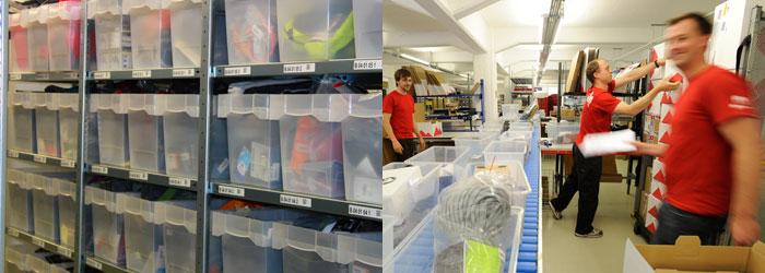 Nous stockons plus de 25000articles dans notre entrepôt et traitons jusqu'à 1600commandes par jour.